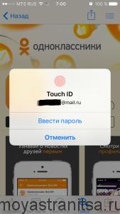 Введите пароль от appStore